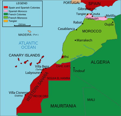 Map of colonial Morocco