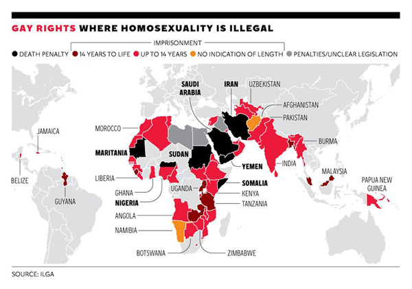 Where homosexuality is illegal in the world