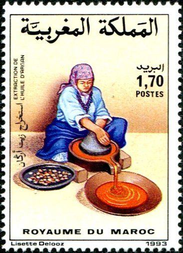 Postal stamp Argan oil