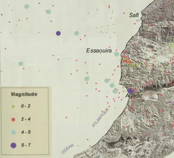 Map of seismic activities in Essaouira  environment