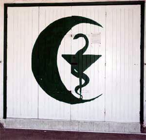 Green Crescent sign of pharmacy