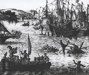 Barbary  Corsairs in a battle