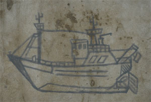 Ship painted on a wallin the port