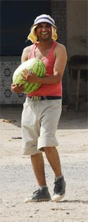 A happy moroccan with  his watermelon