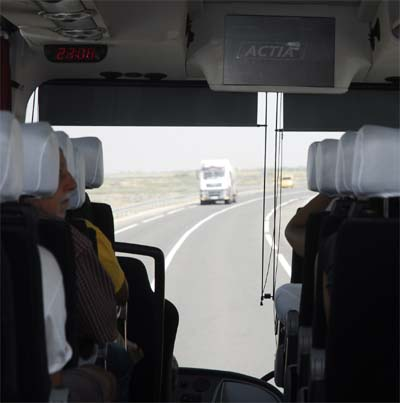 By bus on the Expressway to  Essaouira