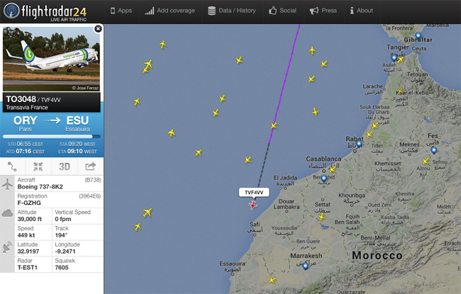 Screenshot from Flightradar 24