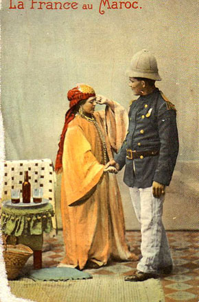 French soldier with  moroccan woman