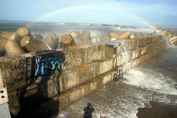 Rainbow over the pier Essaouira port