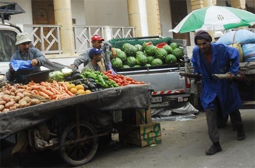 Street vendors in Essaouira  - Vegetables and watermelons