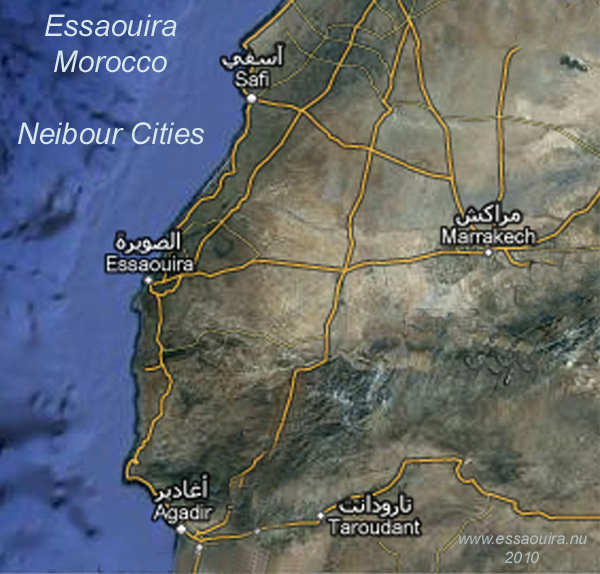 Map  of Morocco with Essaouira and the neibour cities