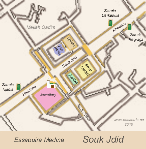 Map of Souk Jdid in the Medina of Essaouira