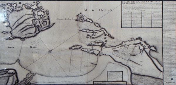 Old map drawn by Theodore Cornut in 1767
