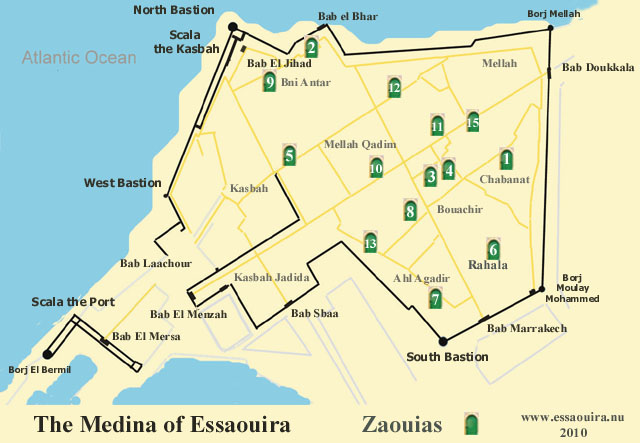 Map of Essaouira - Zaouias
