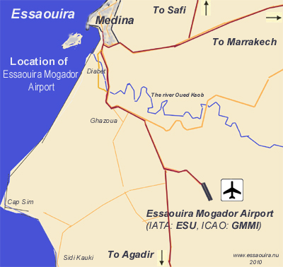 Map of location of Essaouira Mogador Arport