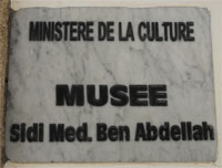 The plaque of the museum Sidi Mohammed Ben Abdellah