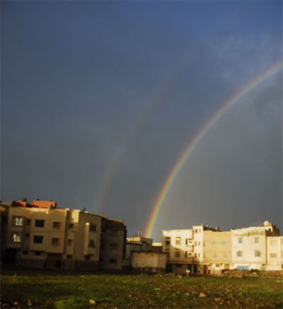 Double rainbow over Essaouira west horizon